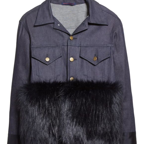 Harvey Faircloth Denim and Faux Fur Jacket XS